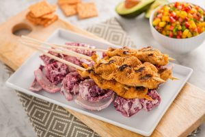 Crunchmaster cracker-coated grilled chicken kabobs with beets, corn relish and avocado.