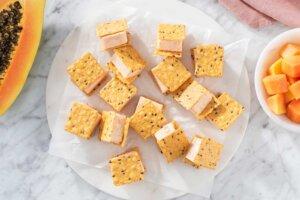 Mini Papaya White Chocolate Ice Cream Sandwiches Recipe