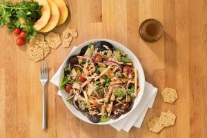 Crunchmaster Multi-Seed crackers added to a quinoa taco salad for crunch.