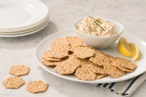 Crunchmaster Multi-Seed crackers with sesame ginger crab dip.