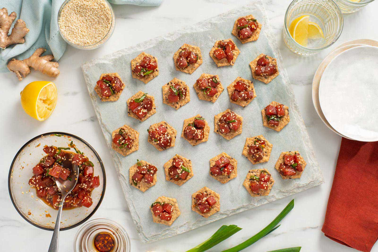 Spicy Tuna Poke Canapés Recipe