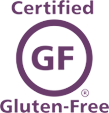 Purple Certified Gluten-Free logo.
